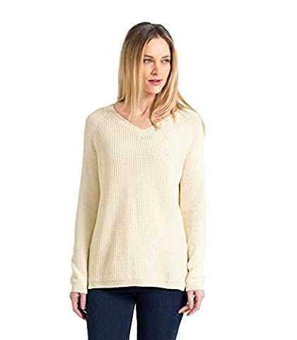 WoolOvers Womens 100% Cotton Mixed Textured V Neck Knitted Sweater Cream, S