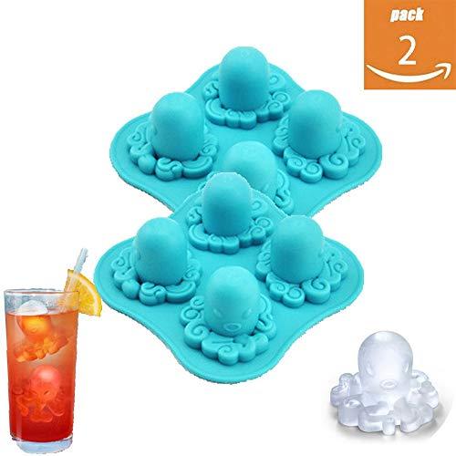m 2 Stück Kreative Octopus-Modellierung Mit LFGB-Zertifizierung Für Eis in Lebensmittelqualität Ohne BPA Eiswürfelbehälter Geeignet Für Küchenparty Bar Whisky Oder Babynahrung ()