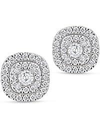 Diamond Studs Forever - Halo-Ohrstecker - 2 Reihen Diamanten GH/I1 1,00 ct. - Weißgold 14 K