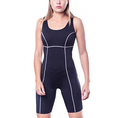 Aquarti Damen Schwimmanzug mit Bein Geschlossener Rücken, Farbe: Schwarz, Größe: 42