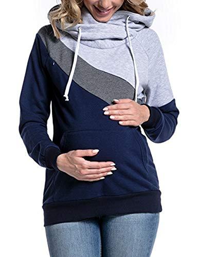 (BESBOMIG Damen Maternity T-Shirt Gemütlich Kapuzenpullover Stillzeit Top - Lange Ärmel Zweilagiges Design Umstandsmode Umstandsshirt)