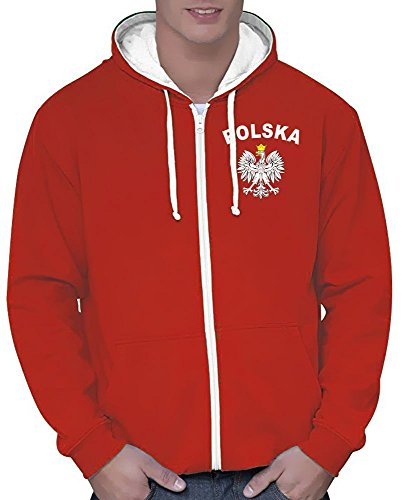 Coole-Fun-T-Shirts Polen Sweatshirtjacke Varsity Jacke rot-Weiss, Gr.XL