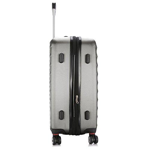 EUGAD Reisekoffer Harschalenkoffer 4 Rollen mit erweiterbaren Volumen Reise Koffer Trolley Hartschale Zwillingsrollen Handgepäck groß M L XL Set , Silber Grau (XL 75 cm & 110 Liter) , RK4216sg-XL - 4