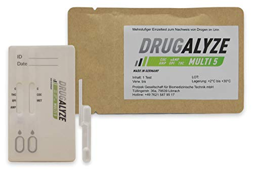 DRUGALYZE Drogentest Multi 5 - Made in Germany - Cannabis - Opiate - Amphetamine Drogenschnelltest