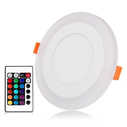 Konesky Faretto a LED da incasso rotondo ultra sottile Faretto a LED a LED dimmerabile doppio colore Bianco freddo e lampade circolari RGB da incasso, AC100-265V (9 Watt)