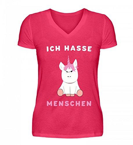 Schöne Menschen Kleidung (Shirtee Hochwertiges V-Neck Damenshirt - Ich Hasse Menschen Einhorn)