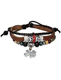 Bling Jewelry geflochtenes Leder Zen Surf Armband Kleeblatt Blume Holz Bali Perlen