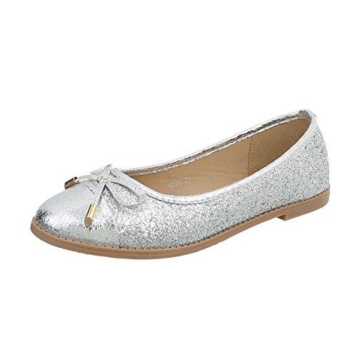 Ital-Design Klassische Ballerinas Damen-Schuhe Blockabsatz Silber, Gr 36, 4534- -
