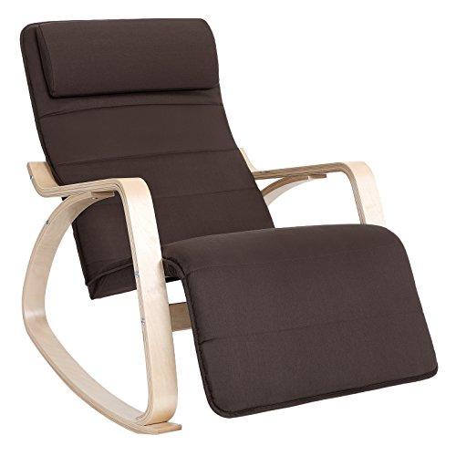 SONGMICS Schaukelstuhl Relaxstuhl Belastbarkeit 150 kg Abnehmbarer und waschbarer Bezug braun LYY60Z