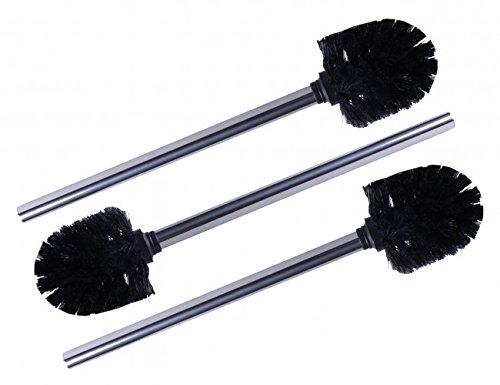 3 x WELLGRO® Edelstahl WC-Bürste schwarz - Ersatz Toilettenbürste - Klobürste - Bürste - Ersatztoilettenbürste - Ersatzbürste