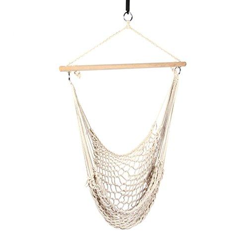 Tragbar Seil zum Aufhängen Hängematte Stuhl Max laden 352lbs Swing Sitz mit Baumwolle Seil und Holz Bar, perfekt für Hof und Outdoor Camping (beige)