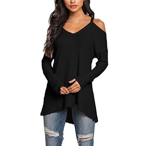ABsoar Blusen Damen Langarmshirt V-Ausschnitt T-Shirt Langarm Schulterfrei Shirt Pullover Sommerhemd...