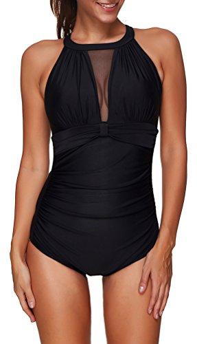 OLIPHEE Women's Beach Halter High Neck Swimwear One Piece Swimsuit Swimming Costume