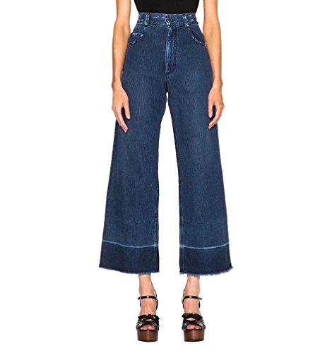 WanYang Femmes Casual Taille Haute Évasé Pantalon Large Longues Palazzo Denim Pantalons Bleu Clair