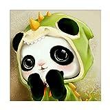ZHHGOOD 5D Salón Dormitorio Decoración Rubik'S Cubo Diamante Redondo Punto De Cruz Pintura Diamante Pequeño Panda Lindo