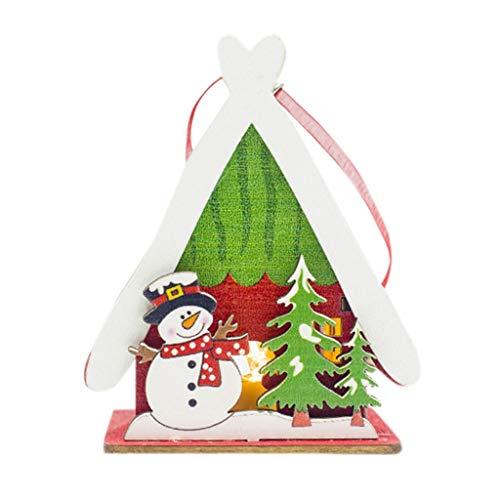 Lichterkette Kreatives Holz Weihnachten Beleuchtetes Häuschen Schneemann Hängende Verzierung Festival Weihnachtsgeschenk Gemalte Leichte Kabine Weihnachtsbeleuchtung Warmweiß