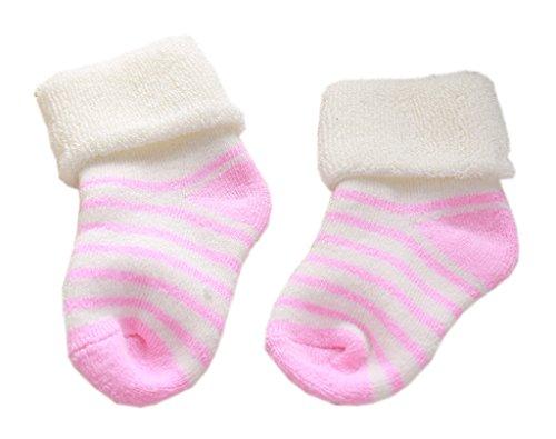 Smile YKK Chausettes Bébé Coton Unisexe Soft Epaissire Rayures de Chaud Rose