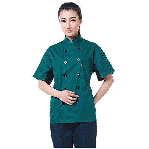 cocina-uniforme-camisa-de-cocinero-manga-corta-verde