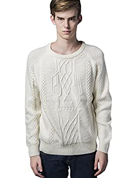 WTUS Crew Knit,Suéter de Moda de Suelto para Hombre,Beige