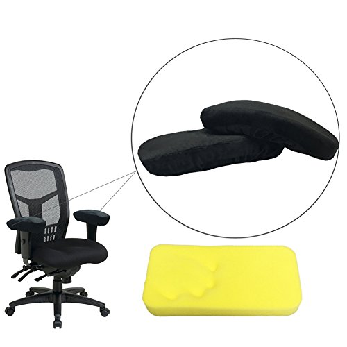 HANSHI Office and Gaming Chair Armrest Covers Cushions Pads Comfy Office Chair Arm Rest Cover for Elbows and Forearms Pressure Relief Set Of 2 (HZC31) (Black, 2)
