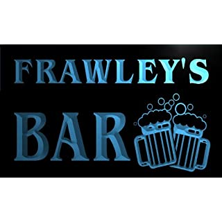 AdvPro Name w009568-b FRAWLEY'S Nom Accueil Bar Pub Beer Mugs Cheers Neon Sign Biere Enseigne Lumineuse