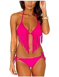 8c0adde70b Kaamastra Women's Color Fringe Bikini Swimwear(KA_LB16086,Pink,Freesize)