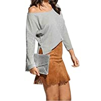 Yukong Ladies Scoop Neck Knitted Sweater Asymmetric Slit Hem Jumper Blouse Tops (XL, Gray)