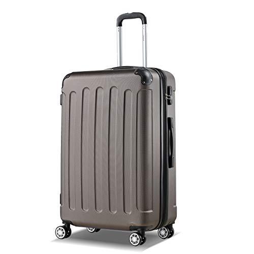 Flexot 2045 Koffer - Farbe Coffee Größe XL Hartschalen-Koffer Trolley Rollkoffer Reisekoffer 4 Rollen