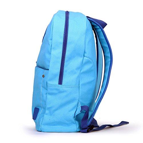 Eshow Damen Canvas Reise Sport Outdoor Freizeit Wochenende Uni Rucksack Taschen Hellblau