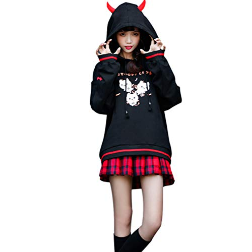 YUFAA Parker Damenmode hübscher Dämonwinkel mit Kapuze Katzenwaldmädchenohrrückseite bürstete die lange Hülse, die reizvolle kleine feste trägt, die auffällige individualisierte Verkleidung des Haraju