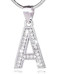 Morella Damen Halskette und verschiedene Buchstaben Anhänger zur Auswahl aus 925 Silber rhodiniert 45 cm lang