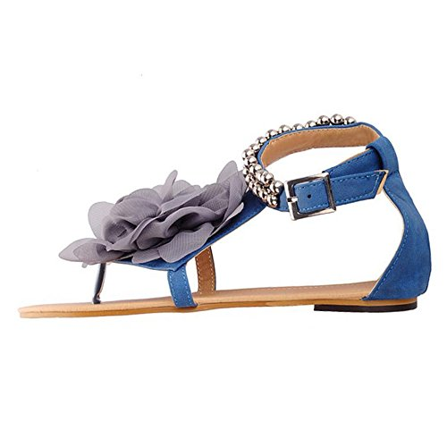 TAOFFEN Damen Roman Flach T-Spangen Thong Schuhe Flip-flops Sandalen Mit Blume Blau