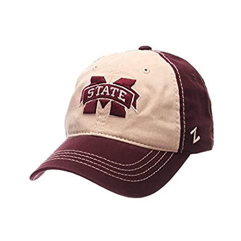 NCAA Mississippi State Bulldogs Men's Sigma Relaxed Cap, Stone/Maroon, Adjustable