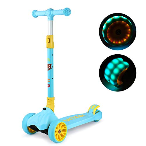 GOSFUN Scooter Roller Kinder, Kinderscooter Kinderroller 3 Räder Klappbar mit Verstellbarem Lenker, LED Blinkenden Räder, für Kinder Jungen Mädchen ab 3 Jahre (Blau)