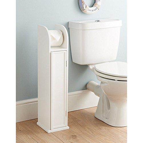 Porte rouleau papier WC sur pied en bois blanc, meuble de rangement de salle de bain