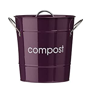 Premier Housewares 0510016 Poubelle à Compost avec Poignées Acier Galvanisé Violet