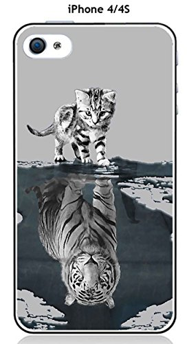 Onozo Coque TPU Gel Souple Apple iphone 4 / 4S Design Chat Tigre Blanc Fond Gris