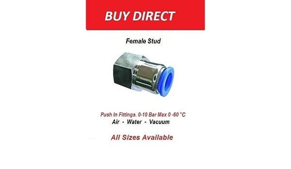 8mm x 3//8 BSPT Female /femmina a perno Nylon pneumatico tubo a gomito connettore Airline Airline tee vite maschio/