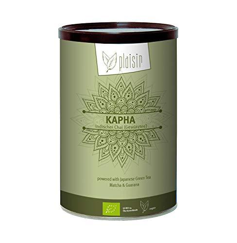 Plaisir Bio Chai Pulver Indischer Gewürztee Kapha 350 gr. Dose (Consumer) mit grünem Tee, bio zertifiziertes, veganes Getränkepulver (Zertifizierte Bio-grüner Tee)
