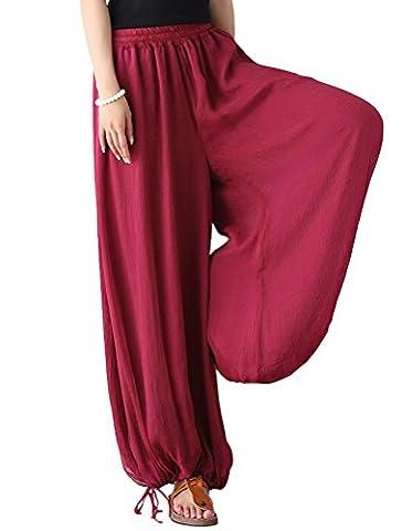 Vogstyle Women's Spring Summer New Italian Lagenlook Layering Plain Harem Trousers Loose Lanterns Pants Wine Red
