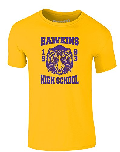 Brand88 - Hawkins High School, Erwachsene Gedrucktes T-Shirt Gänseblümchen-Gelb/Lila