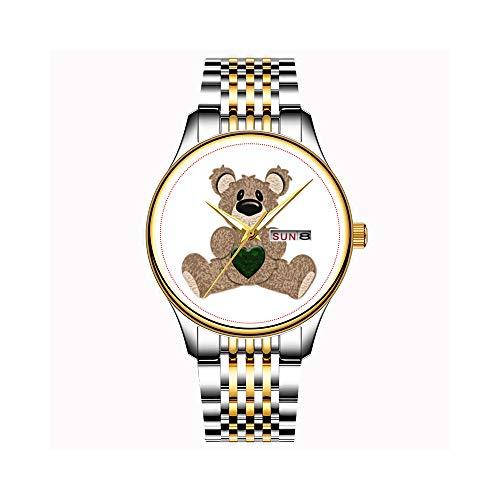 anische Quarz Datum Edelstahl Armband Gold Uhr Maui Cruzer Hawaiian Flag Watch ()