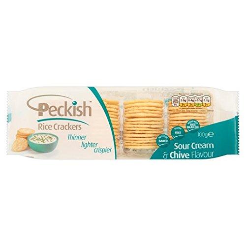 Peckish Sour Cream & Schnittlauch Reiscracker Behälter 5 x 20g (Cracker Tray)