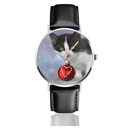Baby Animal Weihnachts-Ornamente niedliches Herz Urlaub Kätzchen Quarzuhr Edelstahl Klassisch Casual Lederarmband Uhren -
