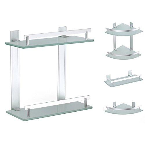 MSV Tabarca-Scaffale 2 ripiani, in alluminio e vetro, 30 x 13 cm