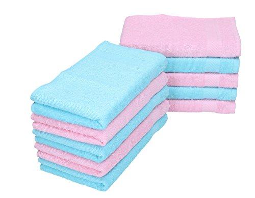 BETZ Lot de 10 serviettes débarbouillettes PALERMO taille 30x30 cm couleurs rose & turquoise