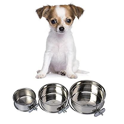 Durable Pet Puppy Dog Parrot Food Water Bowl S M L 2