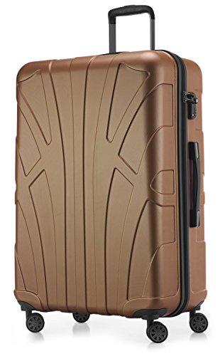 SUITLINE - Hartschalen-Koffer Koffer Trolley Rollkoffer Reisekoffer, TSA, 76 cm, 110 Liter, Braun
