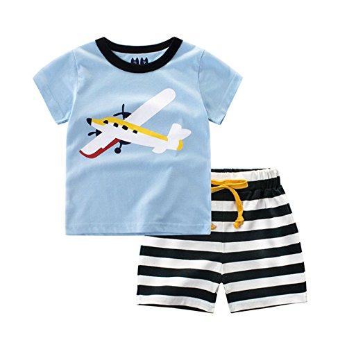 Sommer Unisex Cute Cartoon Anzug 2 Stücke Kurzarm Top + Shorts Set Stretch Streifen T-Shirt Shorts -