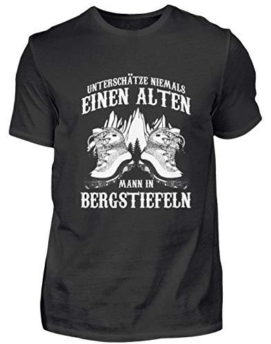 Unterschätze Niemals einen Alten Mann in Bergstiefeln Bergsteiger Geschenk - Herren Shirt -XL-Schwarz